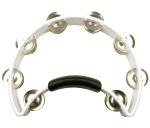 RT1020 Half Moon Tambourine (white, nickel jingles) . Rhythm Tech