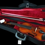 Eastman CA1301E 1/8 Size Violin Shaped Case - Black W/Red