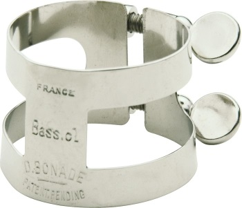 2253U Bass Clarinet Ligature (inverted,nickel) . Bonade