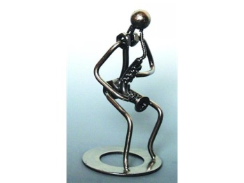 461158 Metal Saxophone player Sculpture . Music Treasures
