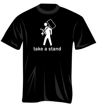100378_L Take A Stand T-Shirt (black, large) . Music Treasures